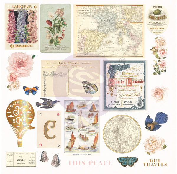 Capri Cardstock Ephemera 23/Pkg, Shapes, Tags, Words, Foiled Accents