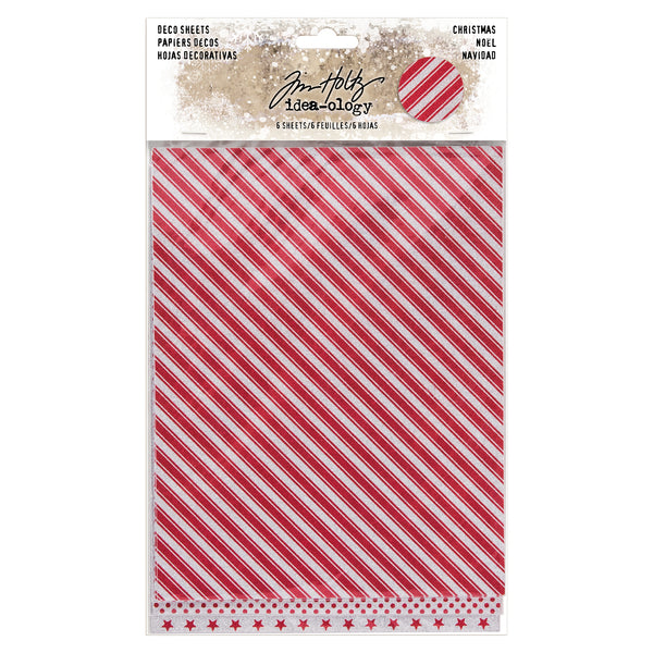 "Tim Holtz Idea-Ology Adhesive Deco Sheets 7""X5.5"" 6/Pkg, Christmas Glittered, 3 Designs/2 Each"