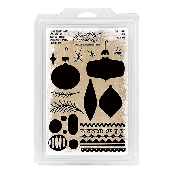 Tim Holtz Idea-Ology Cling Foam Stamps 24/Pkg, Christmas Ornaments - Scrapbooking Fairies