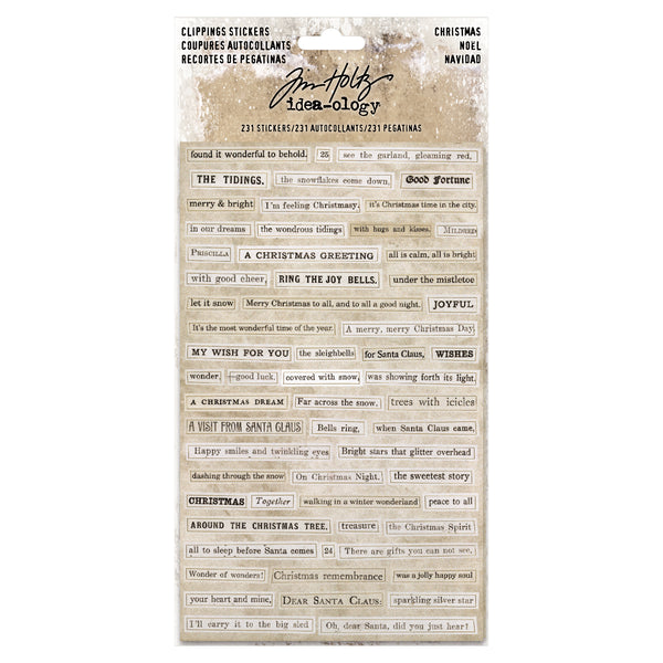 "Tim Holtz Idea-Ology Clippings Stickers 4.75""X7.5"" 4/Pkg, Christmas Words & Phrases - Scrapbooking Fairies"