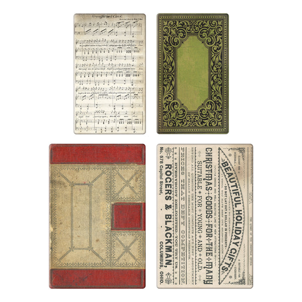 "Tim Holtz Idea-Ology Bookboard Baseboards 4/Pkg, Christmas (2) 3""X5"" & (2) 4""X6"" - Scrapbooking Fairies"