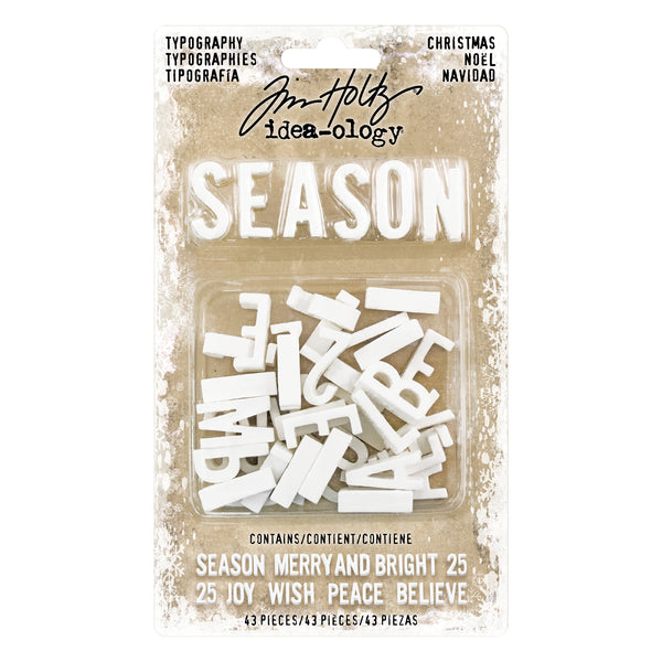 Tim Holtz Idea-Ology Typography Plastic Alphabet 43/Pkg, Christmas - Scrapbooking Fairies