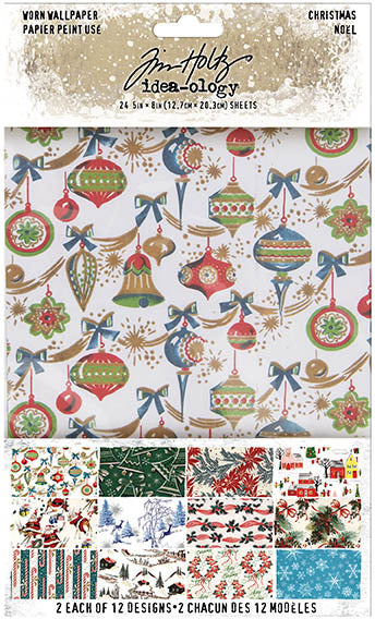 "Tim Holtz Idea-Ology Worn Wallpaper 5""X8"" 24/Pkg, Christmas, 12 Designs/2 Each"