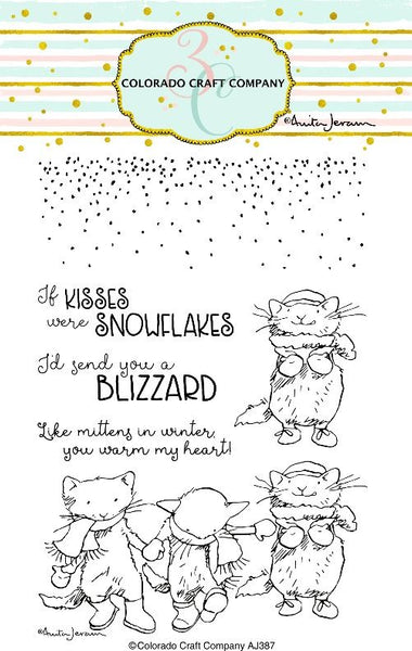 "Colorado Craft Company, Clear Stamps 4""X6"", Kittens & Mittens-By Anita Jeram"