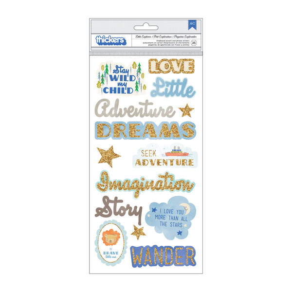 "American Crafts, Little Adventurer Thickers Stickers 5.5""X11"" 35/Pkg, Boy Phrase & Icons/Chipboard"
