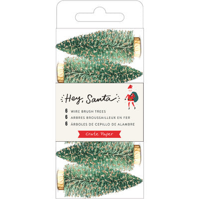 Hey, Santa Wire Brush Tree 6/Pkg, Green W/Gold Glitter