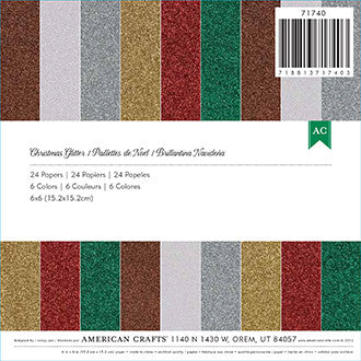 "American Crafts 6""x6"" Glitter Paper Pad, Christmas 24pk - Scrapbooking Fairies"