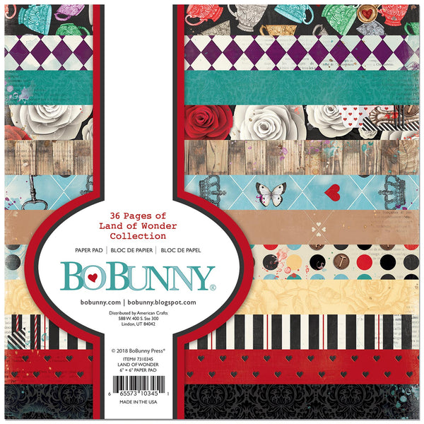 "Bo Bunny, Single-Sided Paper Pad 6""X6"" 36/Pk,  Land Of Wonder, 12 Designs/3 Each"