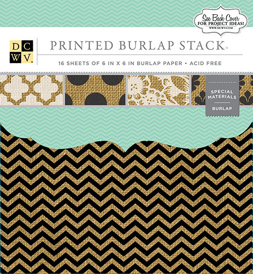 "Die Cuts with a View (DCWV) Single-Sided Specialty Stack 6""X6"" 16/Pkg, Printed Burlap - Scrapbooking Fairies"