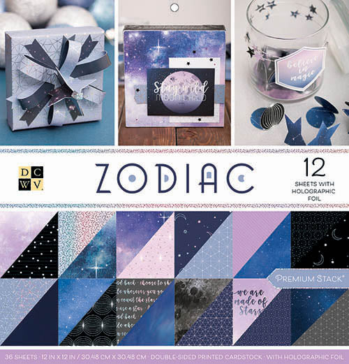 DCWV Paper Stack 12X12, Zodiac - Holographic Foil - Double Sided (36 Sheets) - Scrapbooking Fairies