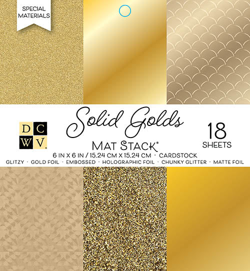 "Die Cuts with a View (DCWV), Single-Sided Cardstock Stack 6""X6"" 18/Pkg, Solid Golds W/Specialty Finishes - Scrapbooking Fairies"