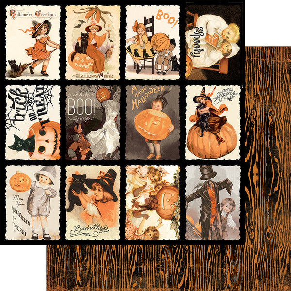"Authentique, Masquerade Double-Sided Cardstock 12""X12"", #7 Vintage Halloween 3""X4"" Cut-Aparts"