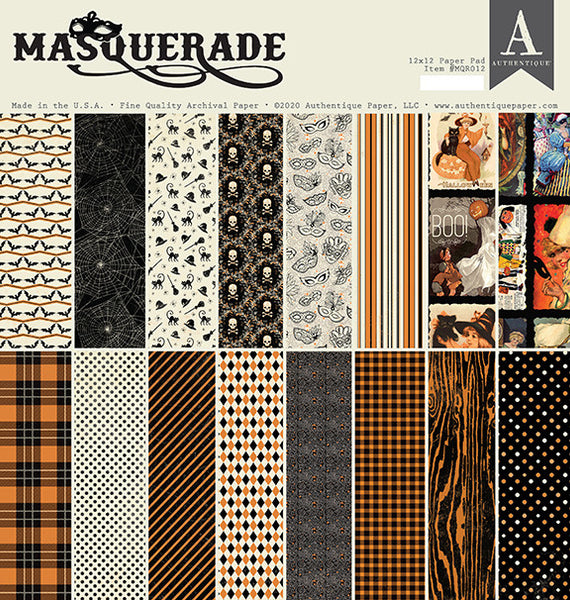 "Authentique, Double-Sided Cardstock Pad 12""X12"" 18/Pkg, Masquerade"