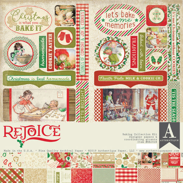"Authentique Collection Kit 12""X12"", Rejoice, Holiday Baking Theme"