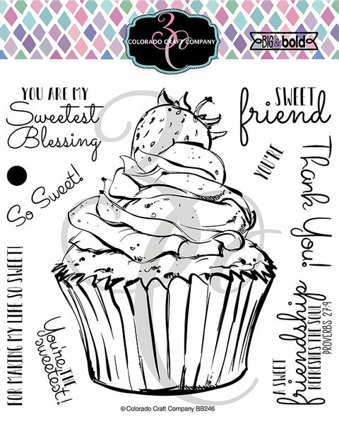 "Colorado Craft Company Clear Stamps 6""X6"", Big & Bold, Sweet Friend Cupcake"