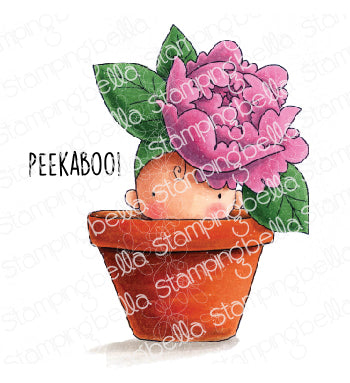 Stamping Bella Cling Stamps, Peony Baby In Pot