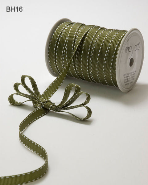 3/8 Inch Grosgrain Stitched Edge Ribbon, Olive/White Stitch - Scrapbooking Fairies