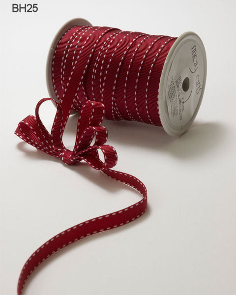 3/8 Inch Grosgrain Stitched Edge Ribbon, Burgundy/White Stitch - Scrapbooking Fairies
