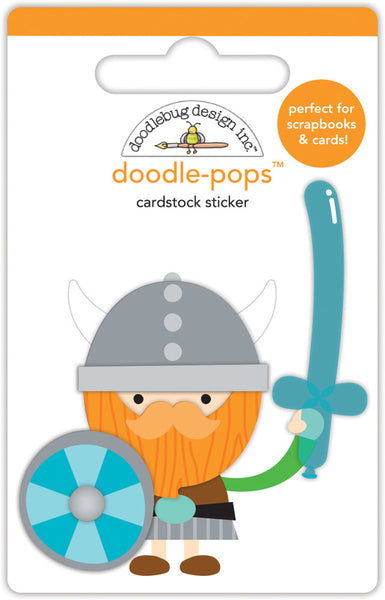 Doodlebug Doodle-Pops 3D Stickers, Dragon Tails Wee Warrior