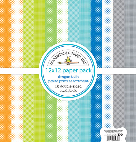 "Doodlebug Petite Prints Double-Sided Cardstock 12""X12"" 12/Pk, Dragon Tails, 12 Designs/1 Each"