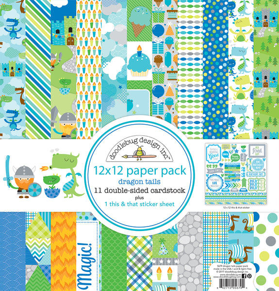 "Doodlebug Double-Sided Paper Pack 12""X12"" 12/Pkg, Dragon Tails"