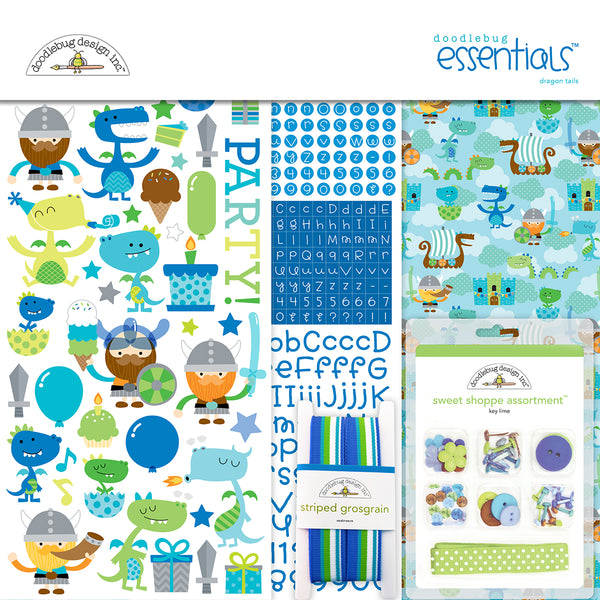 "Doodlebug Essentials Page Kit 12""X12"" , Dragon Tails"