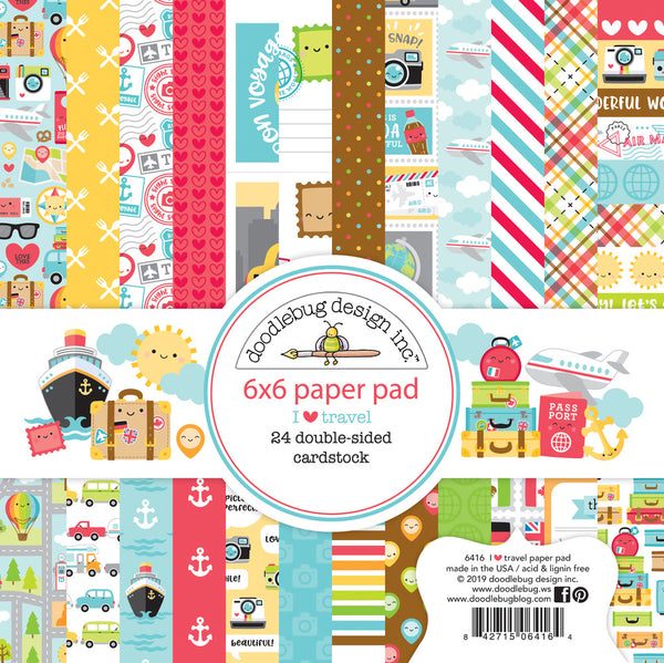 "Doodlebug Double-Sided Paper Pad 6""X6"" 24/Pkg, I Heart Travel, 12 Designs/2 Each"