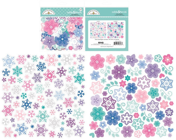 Doodlebug Odds & Ends Die-Cuts, Winter Wonderland Snowflakes, 145/Pkg