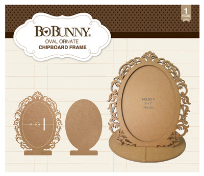 BoBunny Essentials Laser-Cut Chipboard Frame, Oval Ornate