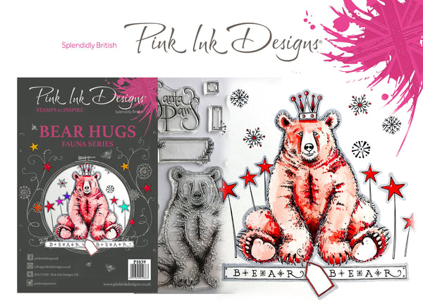 Pink Ink Designs A5 Clear Stamp, Bear Hugs, Fauna Series