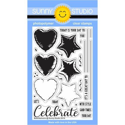 Sunny Studio, Bold Balloons Stamps, Stamps & Dies Combo