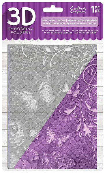 "Crafter's Companion 3D Embossing Folder 5""X7"", Butterfly Trellis"