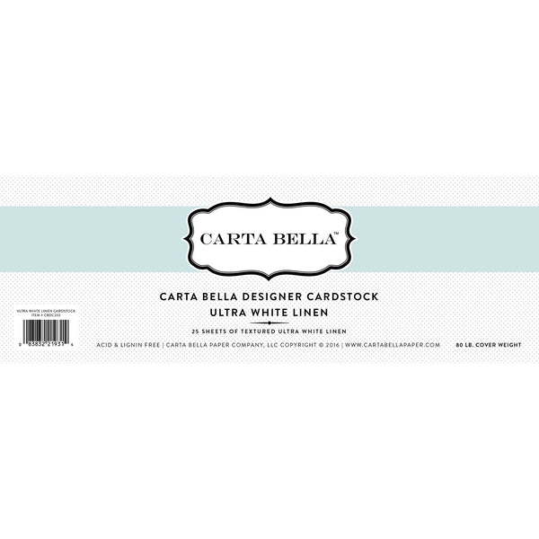 "Carta Bella Designer Cardstock, Ultra White Linen 80lb, 12""x12"" - Scrapbooking Fairies"