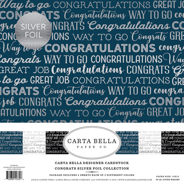 "Carta Bella Collection Kit 12""X12"" 6/Pkg, Congrats W/Silver Foil - Scrapbooking Fairies"