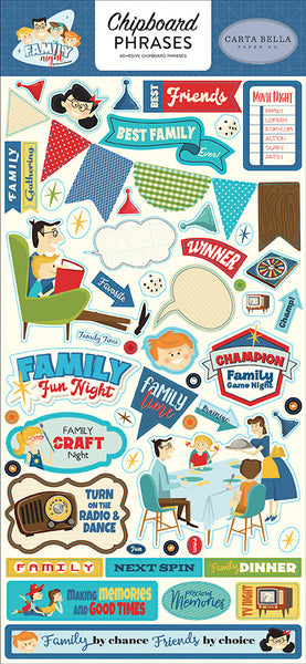 "Carta Bella Family Night Chipboard 6""X13"", Phrases"