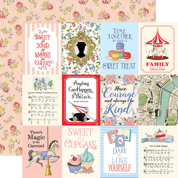 "Practically Perfect, Double-Sided Cardstock,12""X12"" 3""X4"", Journaling Cards"