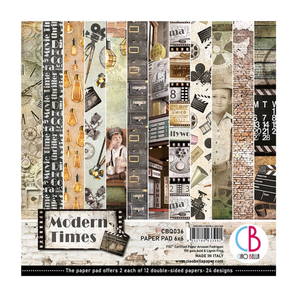 "Ciao Bella Double-Sided Paper Pack 90lb 6""X6"" 24/Pkg, Modern Times, 12 Designs/2 Each"