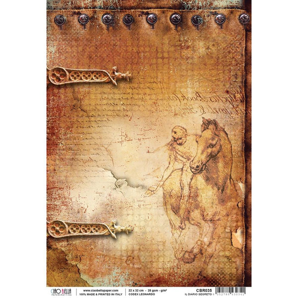 Ciao Bella Piuma Rice Paper Sheet A4, Codex Leonardo, Il Diario Segreto