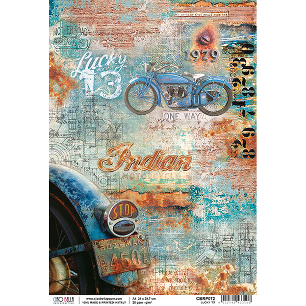 Ciao Bella Piuma Rice Paper Sheet A4, Lucky 13, Collateral Rust
