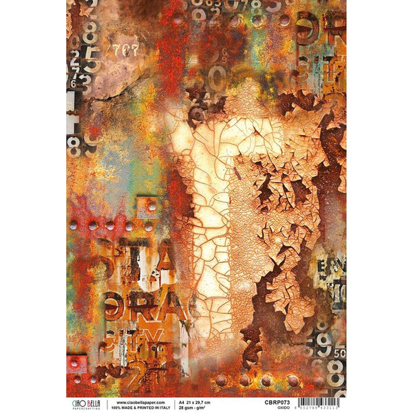 Ciao Bella Rice Paper Sheet A4, Oxido, Collateral Rust
