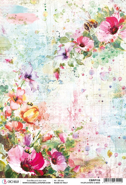 Ciao Bella Rice Paper Sheet A4, Wildflowers & Bees, Microcosmos