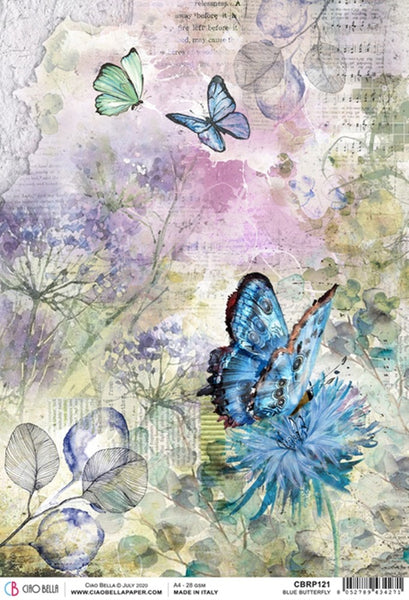 Ciao Bella Rice Paper Sheet A4, Blue Butterfly, Microcosmos