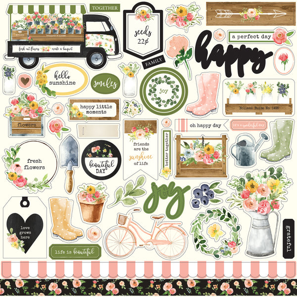 "Echo Park, Spring Market Cardstock Stickers 12""X12"" , Elements - Scrapbooking Fairies"