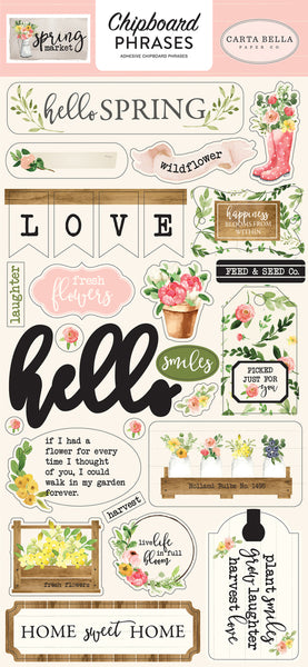 "Echo Park, Spring Market Chipboard 6""X13"", Phrases - Scrapbooking Fairies"