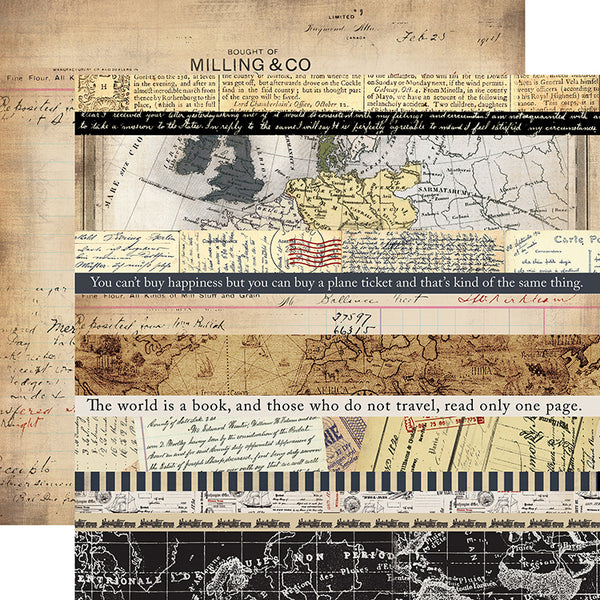 "Transatlantic Travel, Double-Sided Cardstock, 12""X12"", Border Strips"