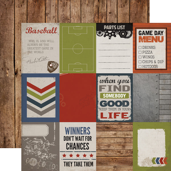 "Work Hard Play Hard, Double-Sided Cardstock 12""X12"", Journaling Cards 3""X4"""