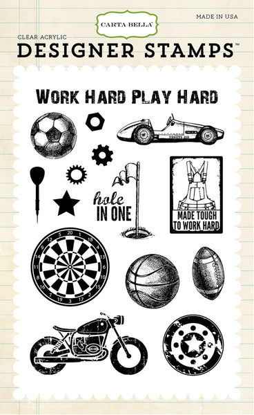 Carta Bella, Work Hard, Play Hard Clear Stamps