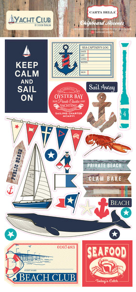 "CARTA BELLA,  Yacht Club - 6""x13"" Chipboard Stickers - Scrapbooking Fairies"
