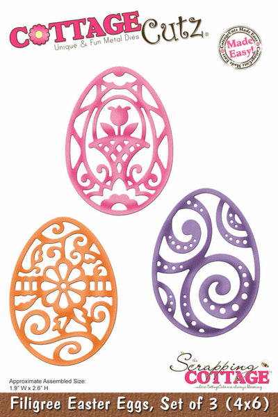 "Cottage Cutz, 6"" Filigree Easter Eggs"
