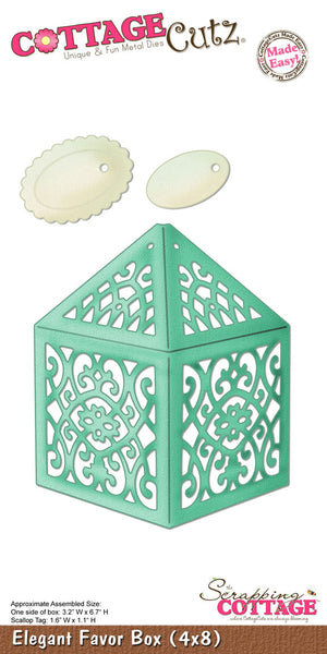 "CottageCutz Die, Elegant Favor Box 3.2""X6.7"", Tag 1.6x1.1"